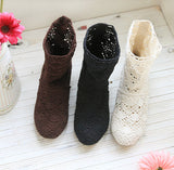 Womens Lovely Woven Fabric Boots