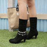 Womens Elegant High-Top Bootie Heels