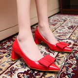 Womens Classic Casual Bow Office Heels