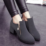 Womens Trendy Zip Heeled Casual Boots