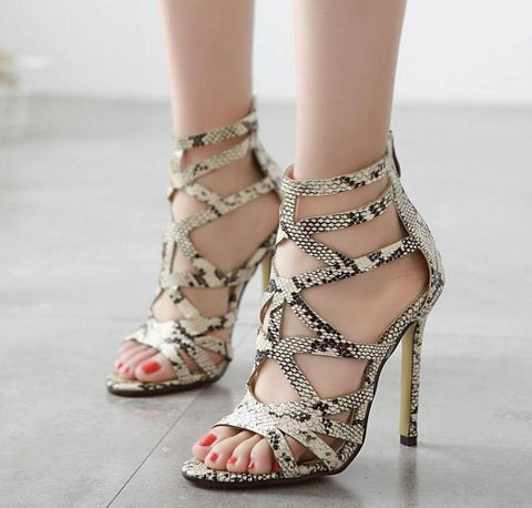 Womens Sexy Snakeskin Stiletto High Heels