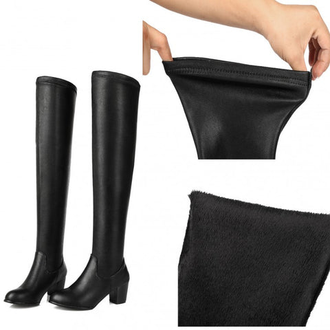 Womens Classy Black Stretch Knee High Casual Boots