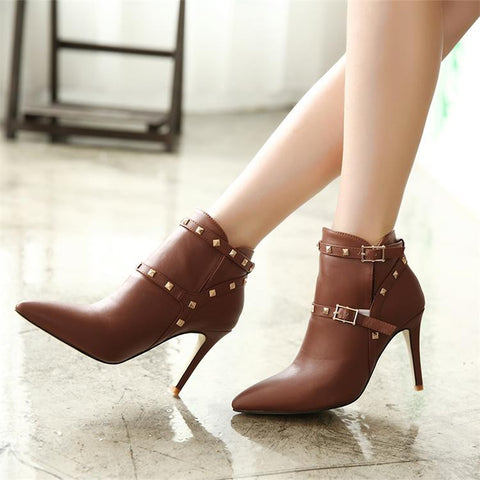 0d1fc0fa82a Womens Edgy Studded Ankle Strap Heel Booties – ShoeSity