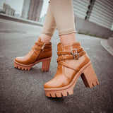 Womens Trendy Ankle Strap Casual Heels Boots