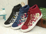 Womens Floral Canvas High-Top Sneakers