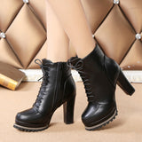 Womens Trendy Lace Stylish Ankle Heel Boots