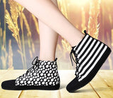 Womens Edgy High-Top Canvas Casual Sneakers
