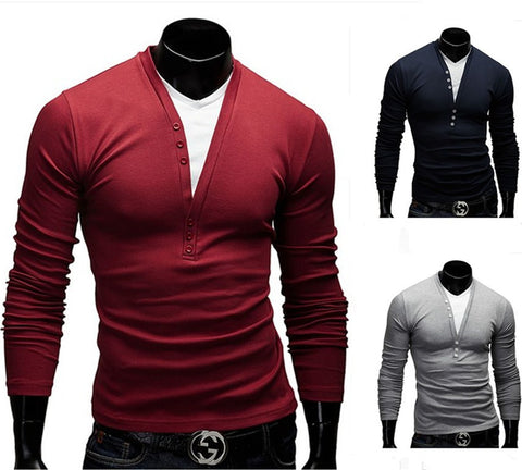Mens Cool Casual Half Button Long Sleeve Shirt