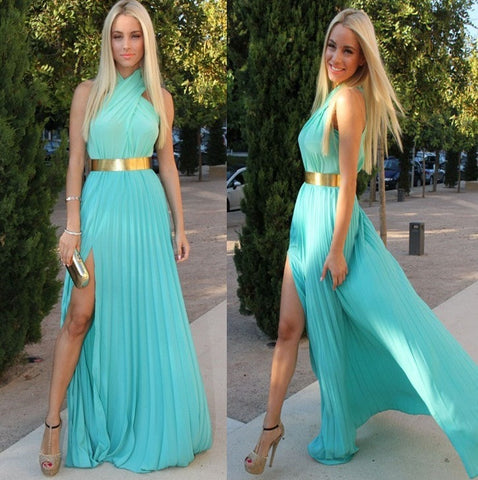 Womens Sexy Halter Draped Gold Belted Open Front Maxi Dress