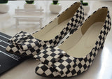 Womens Modern Classic Checkered Bow Heels