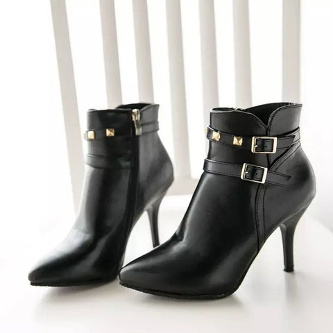 5c7ce067db4 Womens Edgy Ankle Strap Bootie Heels – ShoeSity