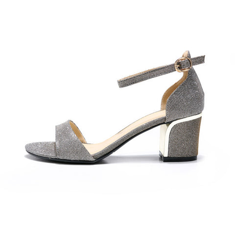 Womens Lovely Ankle Strap Open Toe Heels