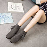 Womens Casual Fringe Heeled Boots