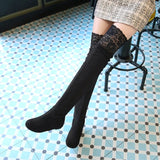 Womens Lace Knee High Wedge Boots
