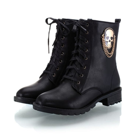 Womens Trendy Urban Skull Boots