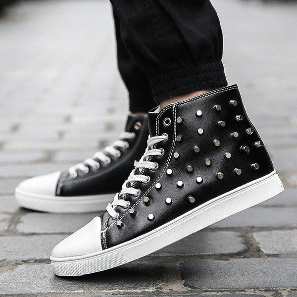 140156a266dc Mens Edgy Studded High-Top Sneakers – ShoeSity