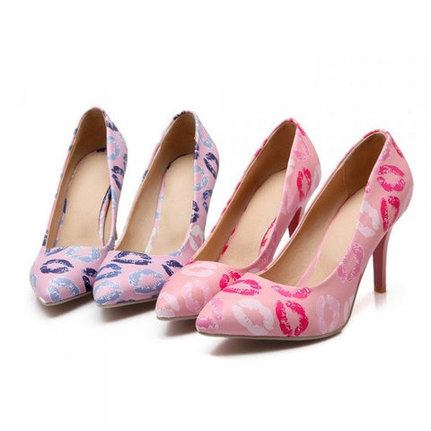 Womens Beautiful Cute Lips Heels