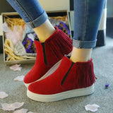 Womens Trendy Modern Tassle Slip-On Sneaker Boots