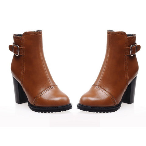 Womens Trendy Hip Casual Heels Boots