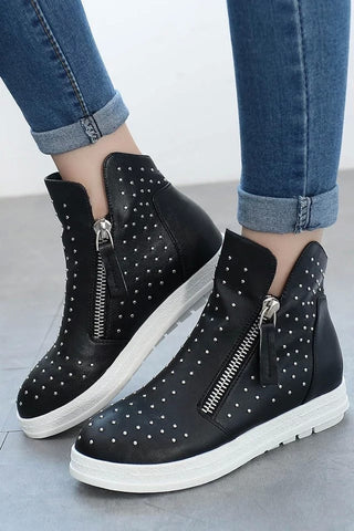 Womens Sporty Side Zip Casual Sneakers