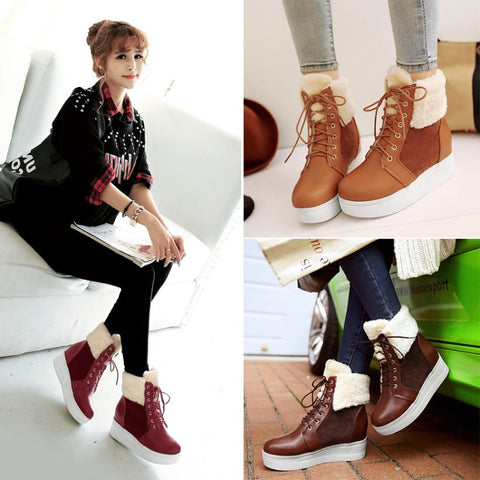 Womens Stylish High-Top Casual Winter Fur Boots
