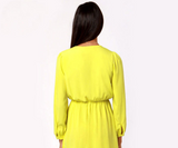 Womens Sexy V Neck Long Sleeve Casual Chiffon Top Dress
