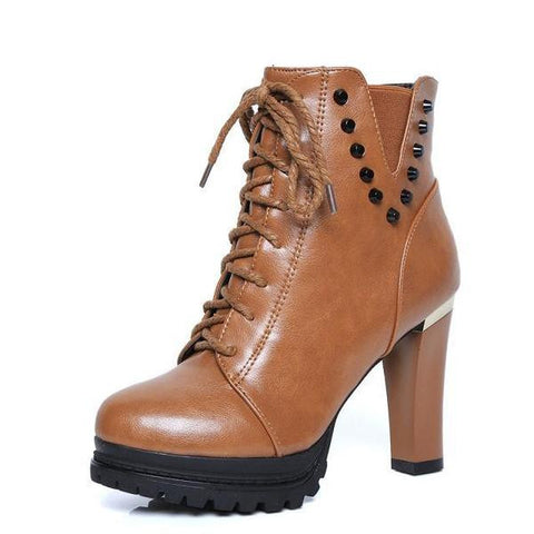Womens Edgy High Heel Platform Boots