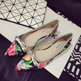 Womens Stylish Floral Ribbon Low Heels