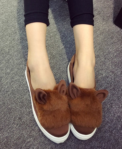Womens Cute Fuzzy Cat Casual Sneakers