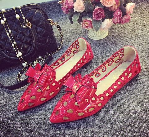 Womens Lovely Ribbon Circle Flats