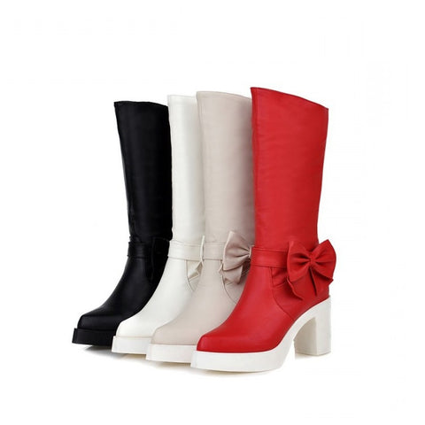 Womens Stylish Bow Platform Heel Boots