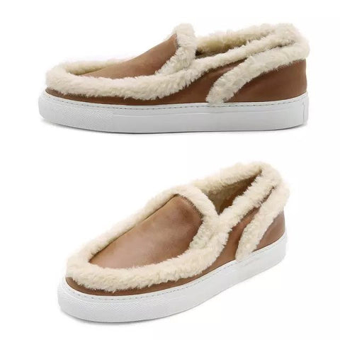 Womens Trendy Fur Trim Slip-On Casual Shoes