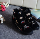 Womens Trendy Canvas Velcro High-Top Sneakers