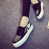 Womens Fun Skeleton Bone Printed Sneaker