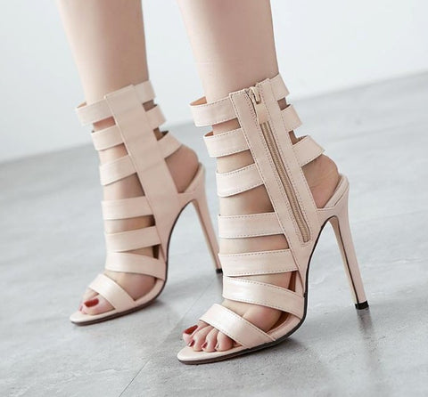 Womens Sexy Beige Bandage Open Toe Ankle Zip Stiletto Heels