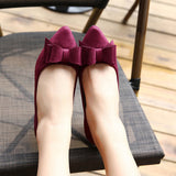 Womens Fashionable Bow Ribbon Low Heels