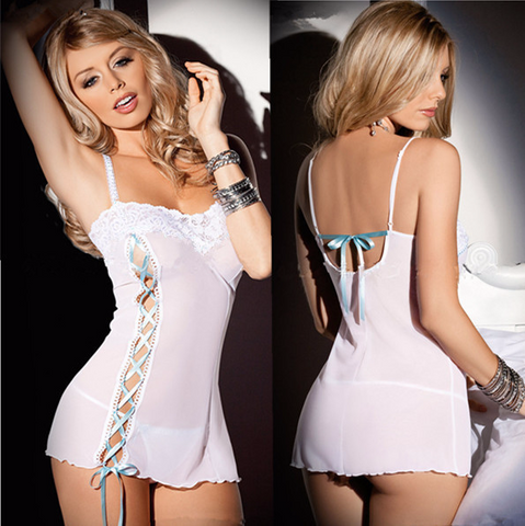 Beautiful White Ribbon Dress Underwear Lingerie
