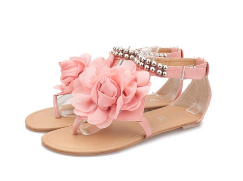 Womens Beautiful Flower Ankle Strap Sandals
