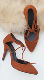 Womens Lovely String Tie Close Toe Heels