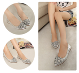 Womens Charming Flower Tip Foldable Flats
