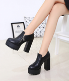 Womens Stylish Rugged Platform Heel Boots