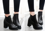 Womens Stylish Urban Slip-On Heel Boots