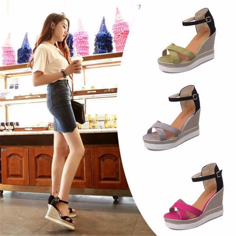 Trendy Platform Ankle Strap Wedge Sandals