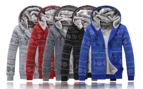 Mens Cool Thick Winter Zip-Up Hoodie