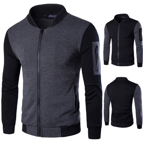 Mens Casual Slim Zip-Up Sweater