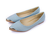 Womens Classic Woven Metal Tip Point Flats