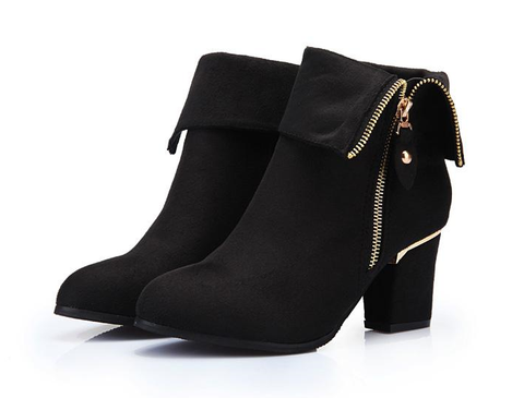 Womens Elegant Zip Heeled Boots