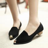 Womens Stylish Gold Tip Work Low Heels