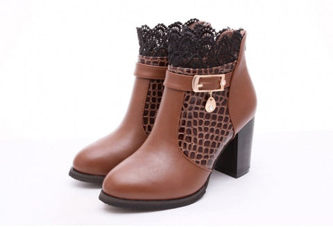 Womens Classy Lace Heel Boots