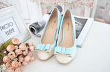 Womens Lovely Cute Ribbon Heels